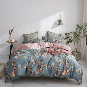 Birds Leaves Flowers Bedlinens Silkly Egyptian Cotton Bedding Set Queen Cover