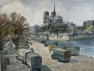 Original signed mid-20th Century watercolour, Notre Dame Paris by Alfred Peachey