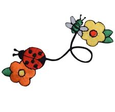 Ladybug, Bumblebee, and Flowers Applique Patch - Bee, Bug, and Buds (Iron on)