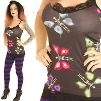 STRAPPY LONG BLACK TOP VEST  SKELETON BUTTERFLIES PRINT  GOTHIC ALTERNATIVE