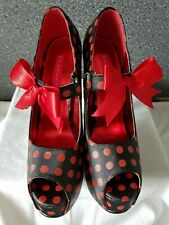 BORDELLO TEEZE BLACK PLATFORM MARY JANE SHOE RED POLKA DOTS UK 4 DRESSING UP