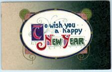 Art Deco HAPPY NEW YEAR Embossed Silk 1917   Postcard