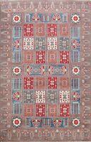 Geometric Super Kazak Vegetable Dye Oriental Area Rug Wool Hand-knotted 6'x9'