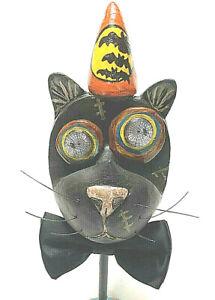 Halloween OOAK Cat Face Pointy Hat Refurbished Spider Eyes Bats Bow Tie OOAK