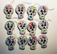 Set of 12 Day of the Dead / Dia de los Muertos Skull Quilt Ornaments Skeleton