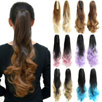 """22"""" Women Colorful Ombre Pink Claw Ponytail Clip In Long Wavy Curly Ponytails"""