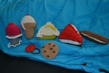Assorted Hand crocheted play dessert foods ice cream cone key lime pie cookie