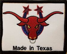 MADE IN TEXAS  Iron-On Patch TEXAS BULL Emblem BLACK Border