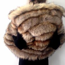 L - XL Spectacular real fur fox jacket coat vest hood