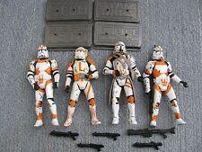 "Star Wars Hasbro (4) UTAPAU Troopers & COMMANDER CODY Bases Extra Weapons 3.75"""