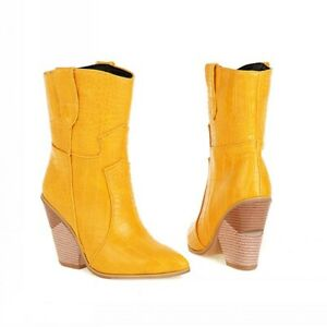 Women Ankle Boots High Top Block Heel Pointy Toe Ladies Cowboy Chelsea Outdoor D