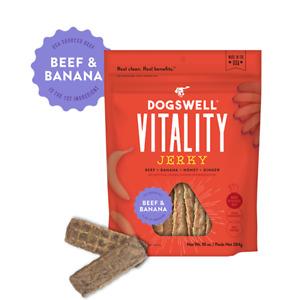 Dogswell VITALITY JERKY Dog Treats GRAIN FREE 10 oz Bag BEEF & BANANA
