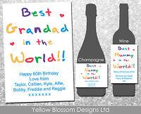Personalised Wine Champagne Bottle Label Nanny Mummy Grandad Best In The World