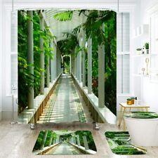 Green Corridor Bathroom Shower Curtain Toilet Seat Cover Rug Bath Mat Sets Decor