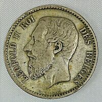 1866 Belgium One Franc Leopold II Silver Coin