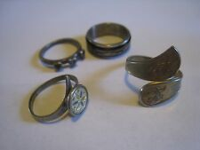 Lot Of 4 Silver & Gold Tone Rings, Unmarked