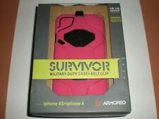 Griffin Survivor Military Duty Case iPhone 4/4s, with clip, Pink & Black, NEW
