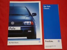 VW Polo Classic Typ 6KV Basis Sportline Comfortline Prospekt + Preisliste 1998