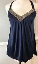 Express Women's Sizes S Halter Top Sparkle Party Blouse Navy Open Back