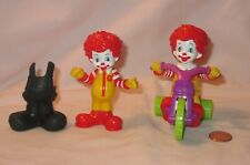 2 Baby Ronald McDonald Figure Tricycle & Snap On Overalls; Happy Meal Toy