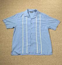 Axist Button Up Shirt Men's Large Silk Touch Blue Striped Short Sleeve Bowling