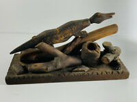 Antique Folk Art Crocodile Alligator Wood Carved Ink Well NEAT wooden