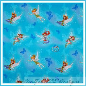 BonEful Fabric Cotton Quilt Aqua Tinkerbell Girl Fairy Butterfly White Top SCRAP