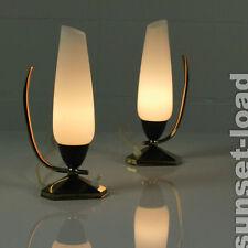 Schickes Paar Nacht Tisch Lampen Messing & Opalglas alte 50er Jahre Leuchten alt