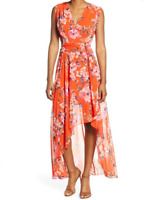 Eliza J Floral High Low Maxi Dress Sz 6 Petite Orange Pink Blue V-neck Flowy NWT