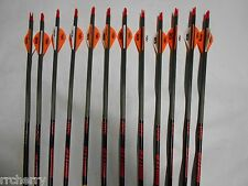 12-Gold Tip Hunter 500 Carbon Arrows w/ Blazer Vanes! 3555 CUT TO LENGTH!