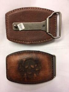 "Camel leather with Skull & Cross bone metal Belt Buckle Western Style 2.5 ""x3.5"""