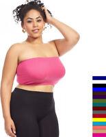 Womens Plus XL 1X 2X 3X 4X Soft Bandeau Bra Seamless Strapless Tube Top !