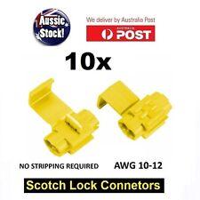 10PCS WIRE CONNECTOR SCOTCH LOCK QUICK SPLICE Yellow WIRE TERMINALS AUTO CAR