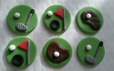 X 6  Golf mix sugar cake, cupcake topper decorations