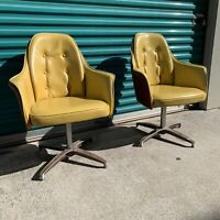Set Of 2 Vintage MCM Yellow Arm Chair Mid Century Modern Office Chair