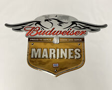 Budweiser Beer Sign Us Marines Tin Metal Embossed Exceptional!