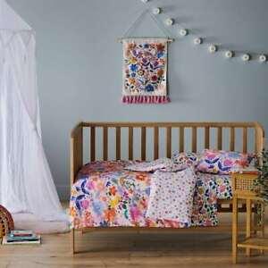 ADAIRS KIDS Bloom COT (Jnr Bed) Quilt Cover Set - pink, flowers - Reversible!