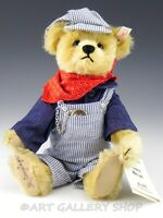 Steiff EAN 665134 TEDDY BEAR CASEY RAILROAD TRAIN ENGINEER with Tag NO TRAIN
