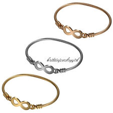 3pcs Women Girl Infinity Stainless Steel Twisted Cable Wire Friendship Bracelet