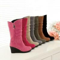Women Mid Calf Boots Faux Suede Platform High Wedges Heel Slouch Boots Shoes O80