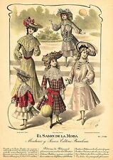 "Spanish Fashion - ""EL SALON DE LA MODA"" - Barcelona - Hand Col'd Eng. - 1888"