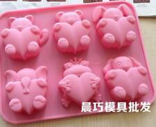 6-cavity Animal Heart Soap Mold Cake Mold Silicone Mould For Candy Chocolate