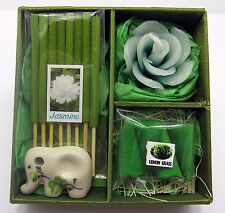 Candle & Incense Cone , Sticks Jasmine and Lemonglass Gift Set Elephant Holder