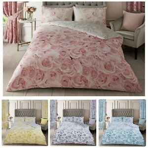 ROSE DUVET COVER SET SOFT COTTON BEDDING WITH PILLOWCASES SING DOUBLE KING SIZE
