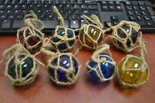 """12 PCS REPRODUCTION GLASS FLOAT BALL WITH FISHING NET 2/"""" **PICK YOUR COLORS**"""
