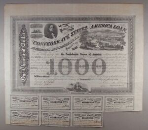 1863 Ball 200 Cr. 125B $1000 Confederate States of America Bond VF