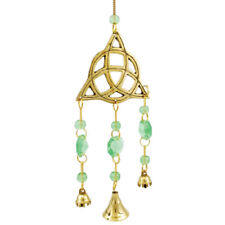 "Small Brass Triquetra Wind Chime with Bells & Green Beads 11"" Celtic Irish Pagan"
