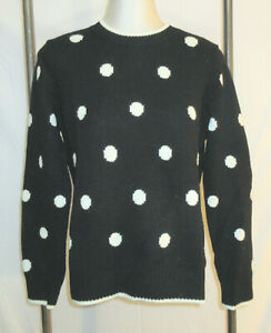 Brooks Brothers Womens L Sweater Crew Neck Black White Polka Dots Wool Pullover