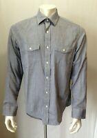Banana Republic Men's Size M Blue Long Sleeve Button Down Herringbone Shirt