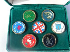 VINTAGE SCOTLAND GOLF BALL MARKET/PIN SET N FELT CASE,ST.ANDREWS-LAMINCH-TROON++